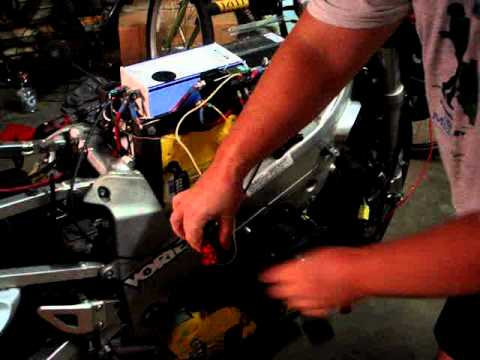 Electric Motorcycle Spinning the motor for the first time. MOV05987.MPG