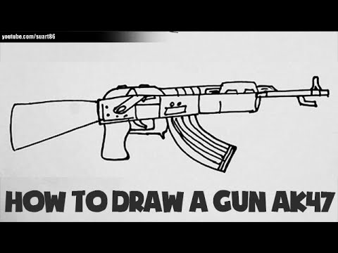 How to draw a gun ak 47