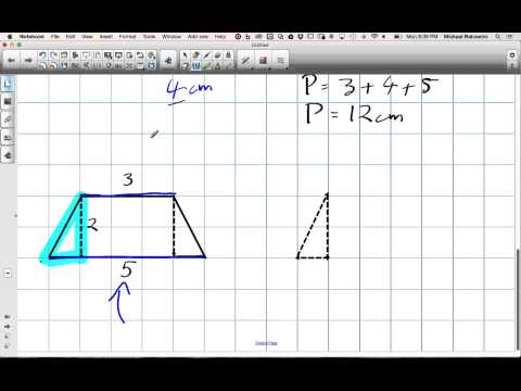 Perimeter of a Trapezoid with Pythagorean's Theorem Grade 8 Nelson Lesson 10 6 12 8 14