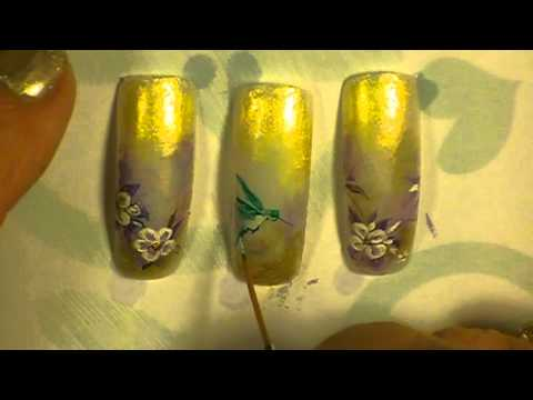 Hummingbird nail art by Freeda Latham