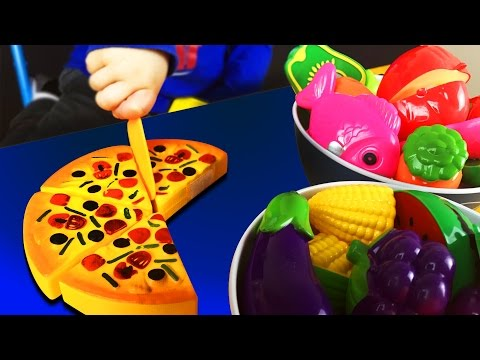 Plastic Fruit Vegetable Kitchen Cutting Toy. For Baby Kids Children. Let's Play Kids