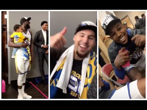 Golden State Warriors celebrate going to the NBA Finals after Game 7 win in Houston