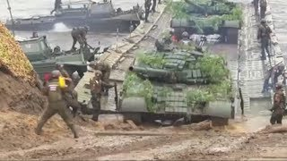 Russian Army Floating Bridge - River Crossing Exercise.
