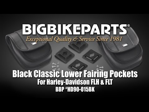 Black Classic Lower Fairing Pockets for Harley FLH and FLT