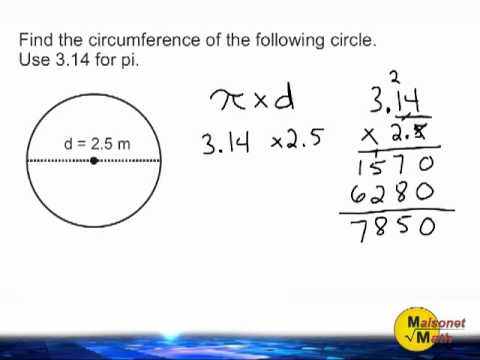 Circumference Of A Circle Using 3.14 For Pi