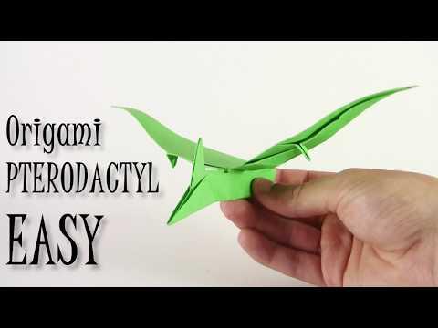 Origami Pterodactyl EASY origami dinosaur - Yakomoga Origami easy tutorial