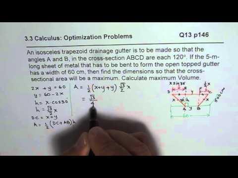 Q13 p 146 Maximum Area for Isosceles Trapezoid Calculus Optimization