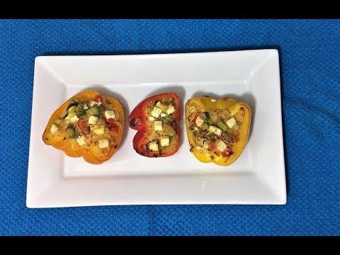 Pimentos recheados com couscous e vegetais