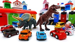 Defeat The Dinosaurs With Shooting Cars~! Tobot Tayo Pororo Shooting Car Toy