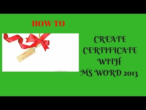 How to create own  certificate with ms word 2013 bangla