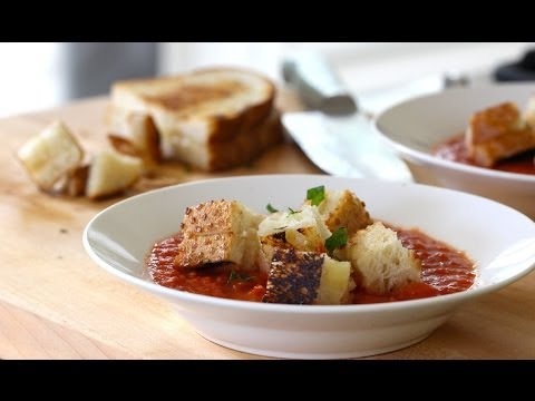 Cream of Tomato Soup with Grilled Cheese Croutons | ENTERTAINING WITH BETH