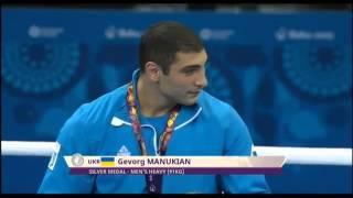 Bakü'de önceki gün biten Birinci Avrupa Oyunları kapsamında 91 kg sıklette boks dalında madalyalar ödül törenleri ile kazananlara sunuldu.  Madalya ödül töreninde altın madalya kazanan Azerbaycan'ın yanı sıra, Hırvatistan, Rusya ve Ukrayna adına yarışan Ermeni asıllı sporcular kürsüde yerlerini aldı...... http://www.haberazerbaycan.com/haber/568/ermeni-sporcuya-azerbaycan-jesti.html