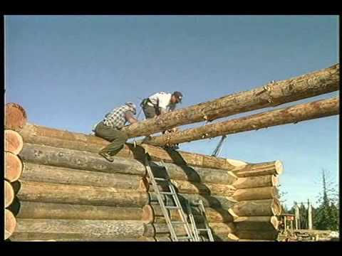 How to Install floor joists and beams - Building a log cabin