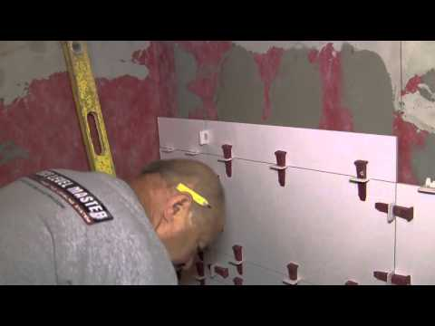 Rectified/Sharp Edges tiles on walls and ceiling with T-LOCK™ Leveling System