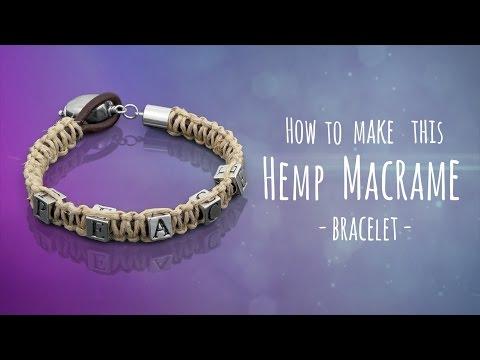 Learn to make a macrame hemp and leather bracelet | Metal Beads
