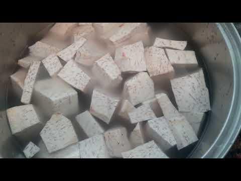 boiling taro root malanga with cinnamon