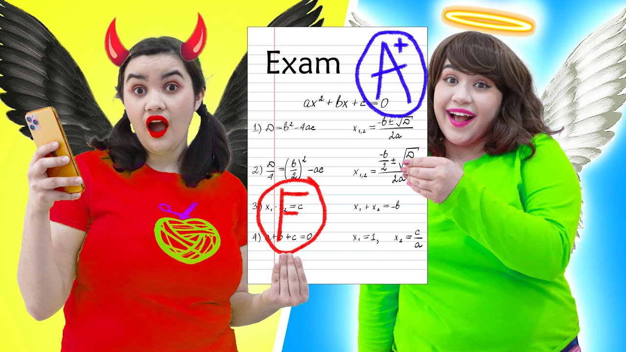 ANGEL VS DEMON STUDENT   CRAZY GOOD & BAD CONTROL RULE MY SCHOOL LIFE BY CRAFTY HACKS