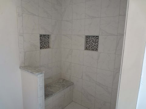 Tile shower stall installation, waterproofing, bench seat, wall tile Noble niche, and more
