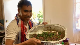 Don't say don't talk making larb duck Lao Food Home Made By Kaysone