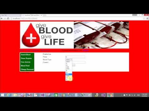 Online Blood Bank Project in ASP.NET C#
