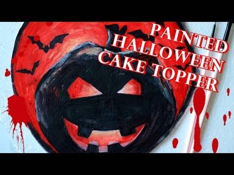 HOW TO MAKE PAINTED HALLOWEEN FONDANT CAKE TOPPER USING A HOMEMADE STENCIL PART 2 | TUTORIAL