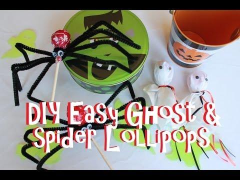 DIY Easy Ghost & Spider Lollipops For Halloween