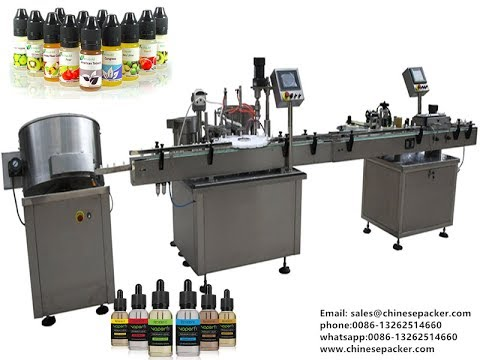 10ml e cigarette liquid filling line bottle unscrambling filling plugging capping labeling machine