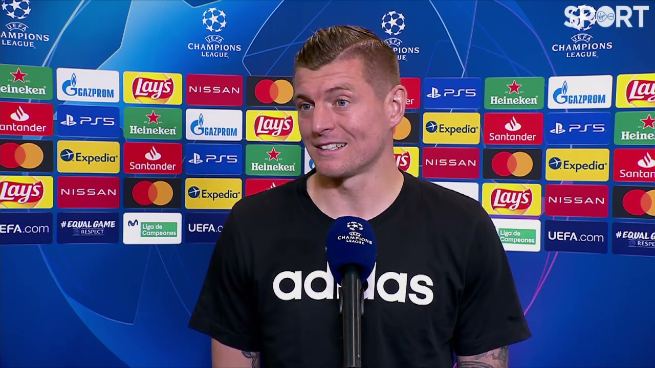 Toni Kroos reacts to Real Madrid's 3-1 win over Liverpool.