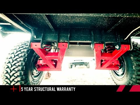 Independent suspension with Dual shock absorber. Black Series Campers Trailers