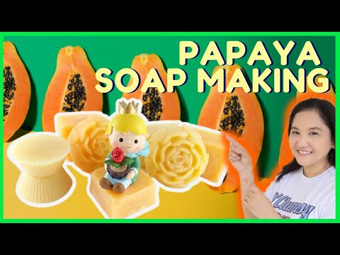Papaya Lemon Cold process soap making herbal soap how to DIY easy beginners herbal soapmaking 068