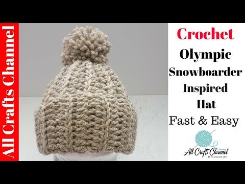 How to Crochet the Olympic Snowboarder Inspired  Hat - Easy Beginner Level