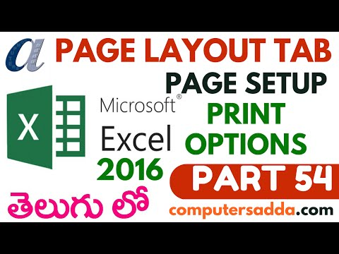 Ms-Excel 2016 in Telugu 54(Page Setup & Printing Options) (www.computersadda.com)