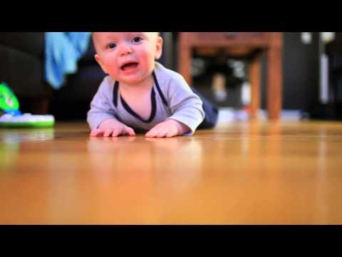 Baby Man Liam Crawling on Hardwood Floors - Clip 1