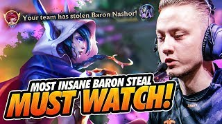 Rekkles | ADC Xayah:  MOST INSANE BARON STEAL - MUST WATCH!