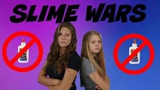 SLIME WARS: NO GLUE || NO BORAX || Taylor and Vanessa