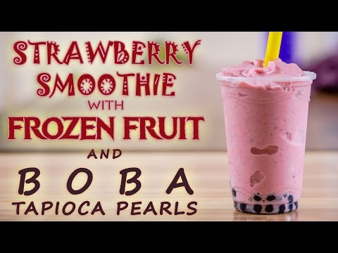 How to Make Strawberry Smoothie with Flavor Powder, Frozen Fruit, and Boba Tapioca Pearls