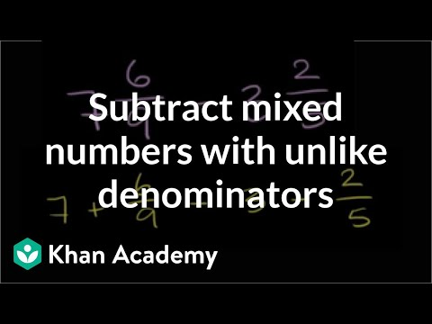 How to subtract mixed numbers that have unlike denominators   Fractions   Pre-Algebra   Khan Academy
