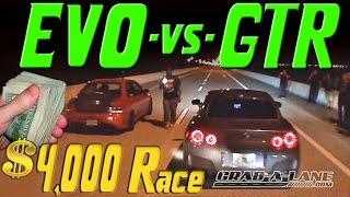 4000 race  nissan gtr vs evo  grab a lane  kotscom