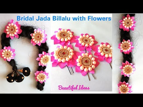 How to Make Bridal Hair Accessories Using Pearls/ Jada Billalu Making at Home/Beautiful Ideas/DIY
