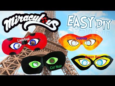 DIY Miraculous Ladybug Dress-up Masks Season 2 Rena Rouge Volpina Queen Bee Cat Noir Tutorial