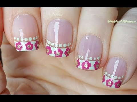 FRENCH MANICURE DESIGNS #7 / Pastel Green & Pink Flower Nail Art