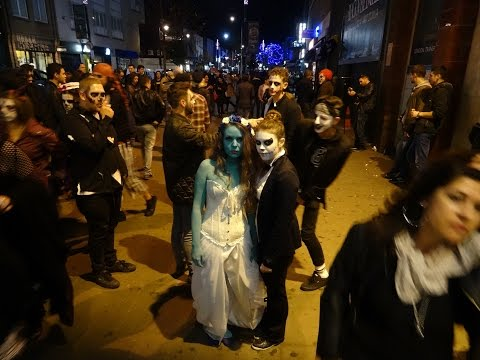 Walking at night time in London on Camden Market High Street (Halloween ).