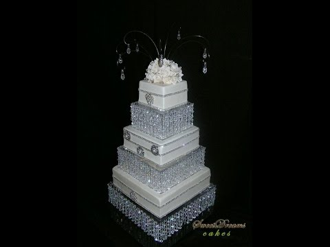 DIY crystal wedding cake stand. Cake stand chandelier.
