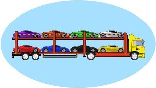 Colors for Children to Learn with Car Transporter Carrying Vehicles |  Educational Videos