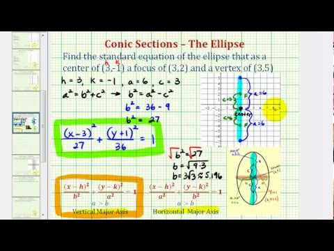 Ex: Find the Equation of an Ellipse Given the Center, Focus, and Vertex (Vertical)