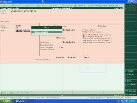 Tally. ERP 9 ( PART 8 ) Creation of Stock Items, Groups,Units, Categories.