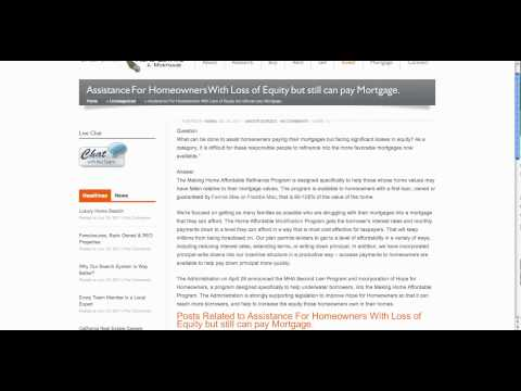 HARP - Lost Equity but Can Still pay Mortgage - Home Affordable Refinance Program