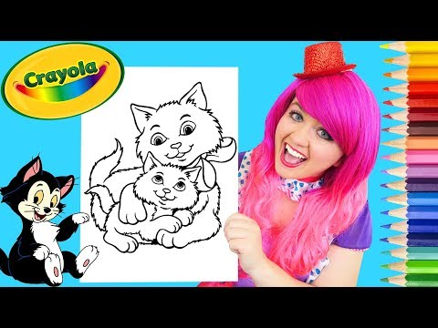 Coloring Baby Kitty & Mama Cat Crayola Coloring Page Prismacolor Pencils   KiMMi THE CLOWN