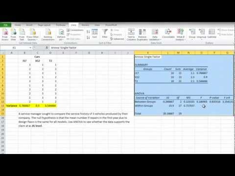 How to Use Single Factor Anova - Excel 2010