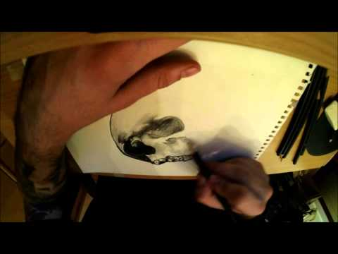 Alek Tattoo - Drawing skull TIMELAPSE